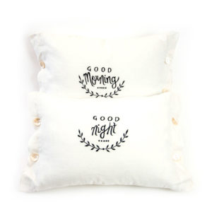 Good night and good morning reversible pillow