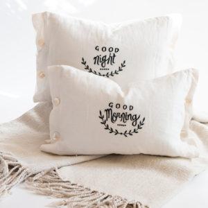 good morning and good night reversible pillow